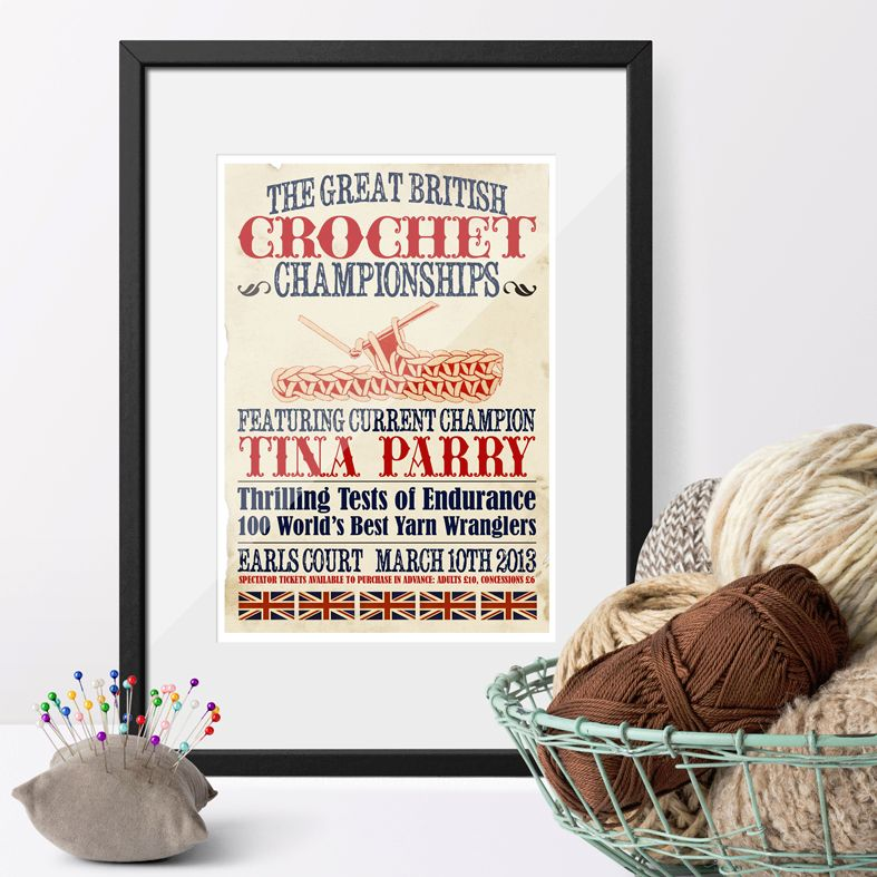The Great British Crochet Championships Personalised Vintage Print | unique vintage style personalised gift for someone who loves crocheting from PhotoFairytales