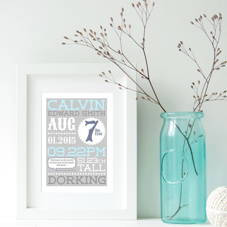 Personalised New Baby Birth Print