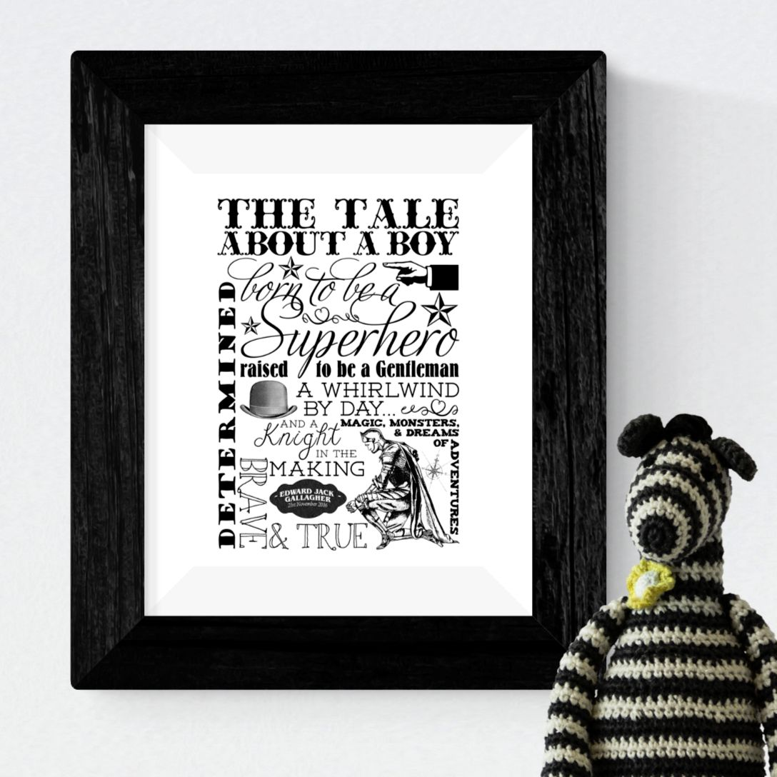 Boy personalised handmade gift typography word art black and white