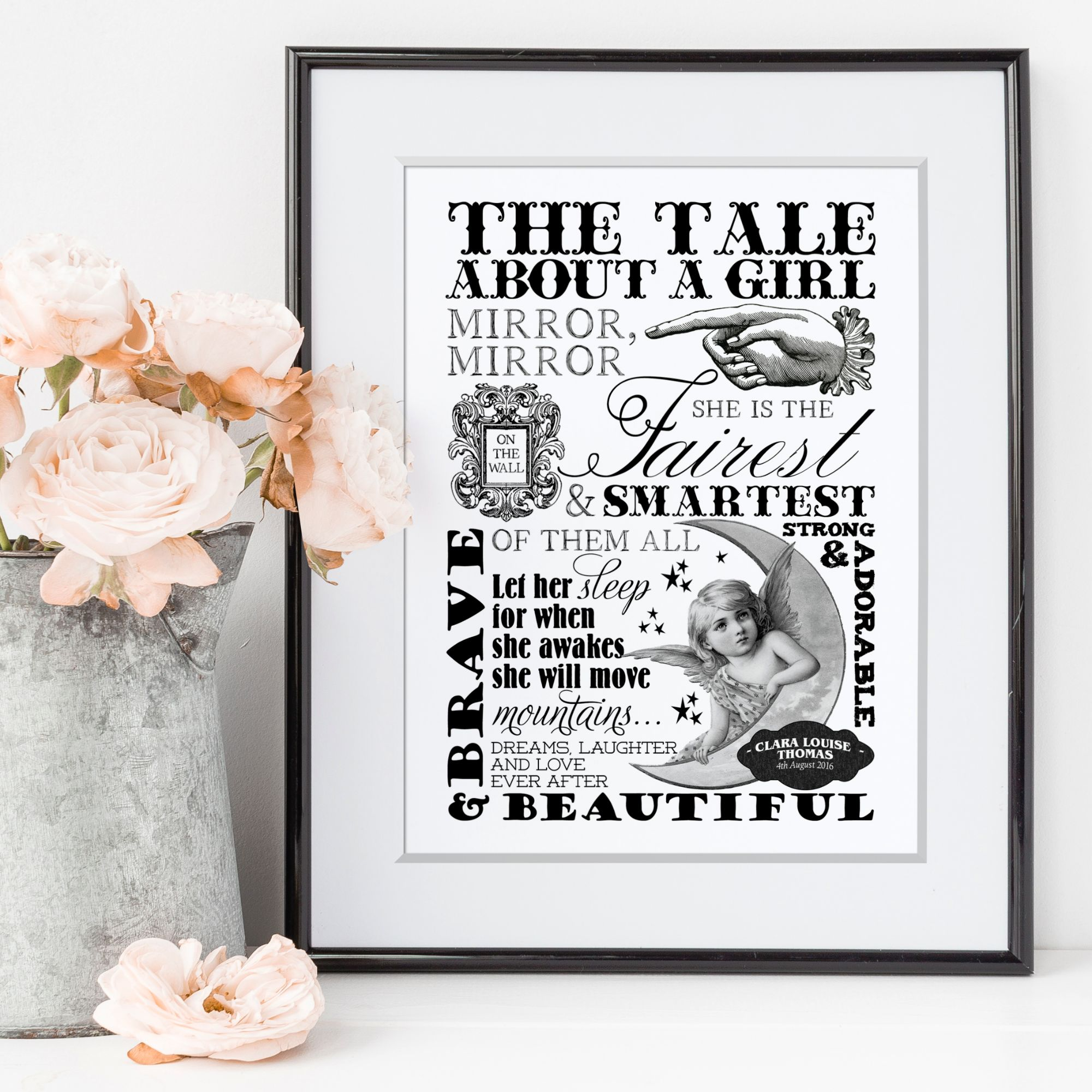 Word Art personalised print inspirational monochrome photofairytales