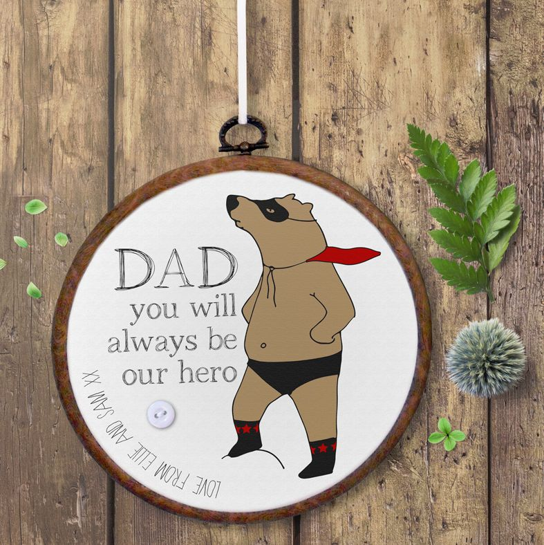 Personalised embroidery hoop print Fathers Day gift | PhotoFairytales