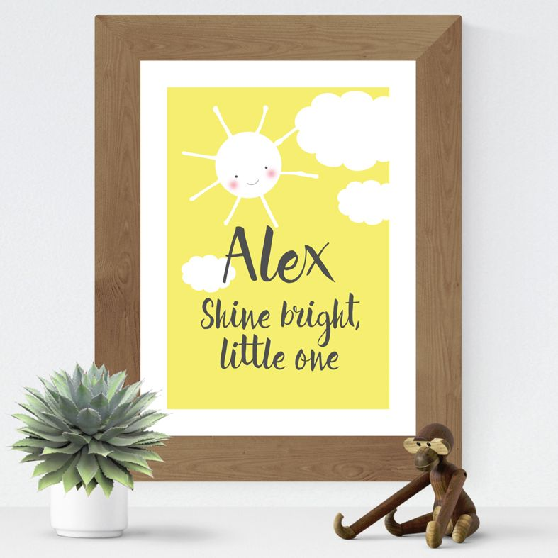 Shine Bright Little One personalised Smiler print