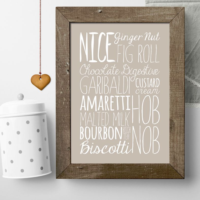 Biscuits bespoke Word Theme Print | made to order word art prints created in any colour, striking typographic art for your home, from PhotoFairytales