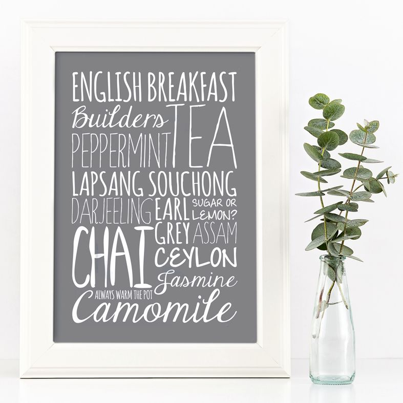 Tea kitchen gift bespoke Word Theme typographic print