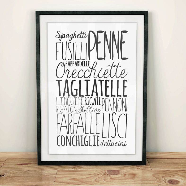 Pasta bespoke Word Theme Print | made to order word art prints created in any colour, striking typographic art for your home, from PhotoFairytales