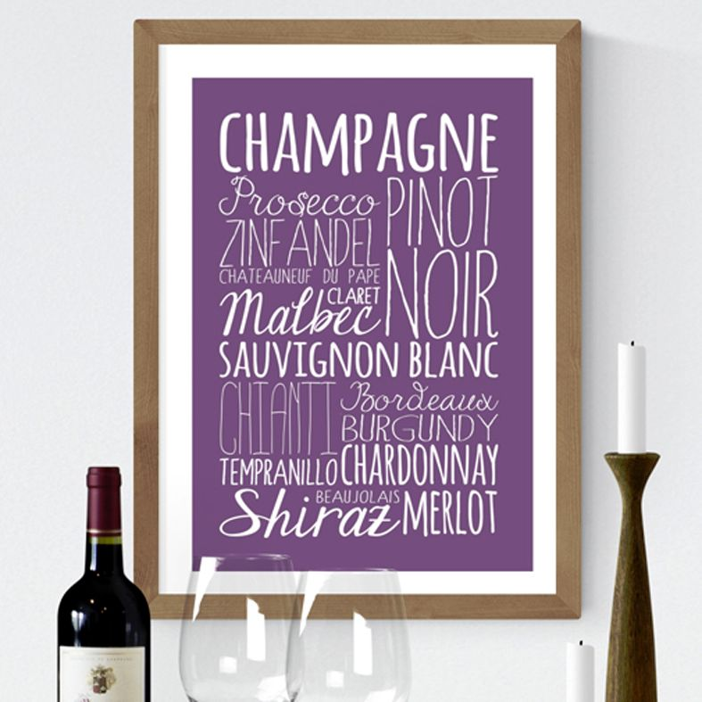 Wine bespoke Word Theme Print | made to order word art prints created in any colour, striking typographic art for your home, from PhotoFairytales