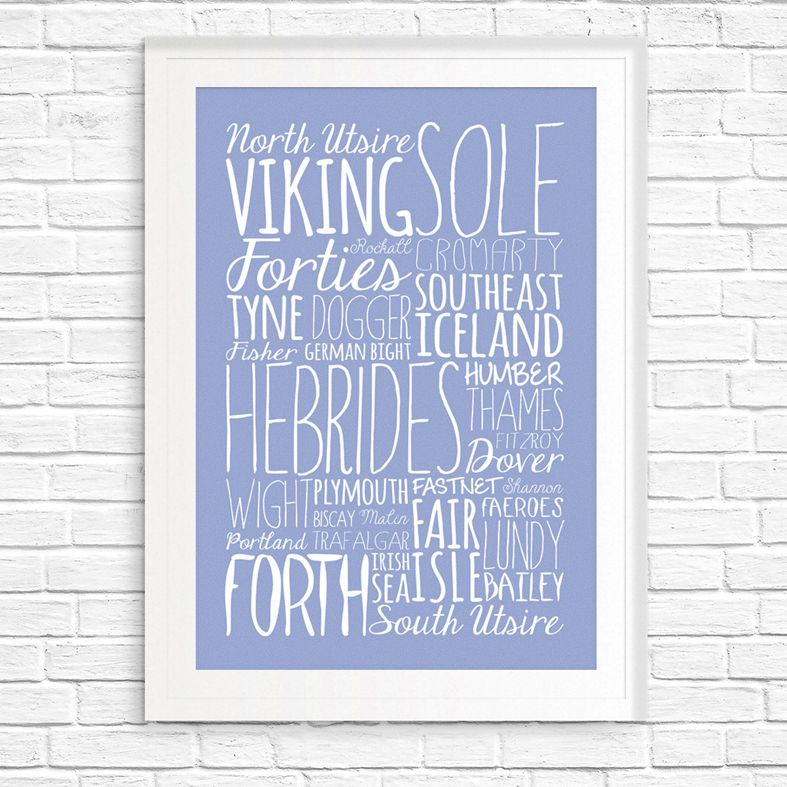 Shipping Forecast bespoke Word Theme word art print