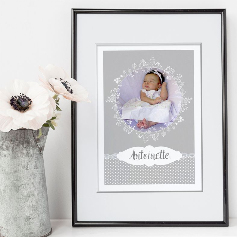 Lace personalised name poster print | A delightful range of personalised name prints featuring your baby's name. Lovely #nurserydecor #babygift from PhotoFairytales