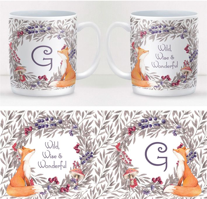 Woodland Fox personalised mug gift