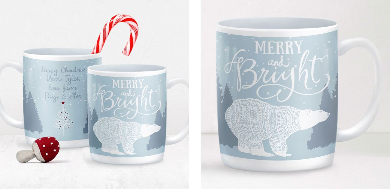 Merry and Bright personalised Christmas winter mug