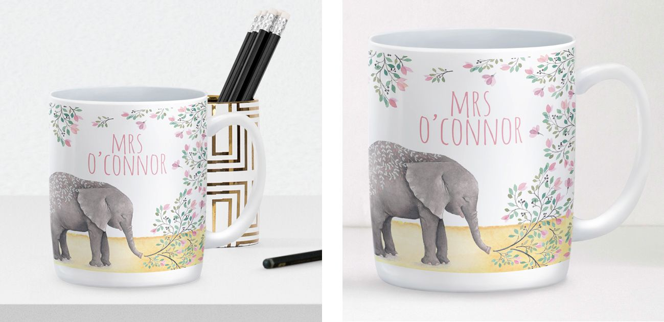 Elephant mug personalised mug teacher gift