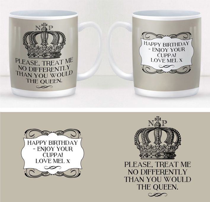 Queen royalty personalised fun mug