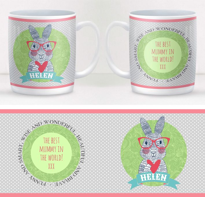 Spectacled Rabbit personalised mug gift for her
