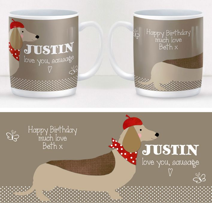 Sausage Dog dachshund personalised mug