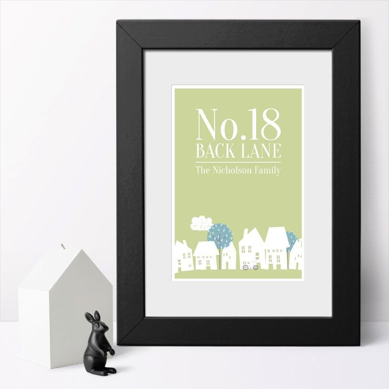 House Number Personalised New Home Art Print | Delightful personalised New Home prints made to order, an ideal moving home gift. Great housewarming gift idea for friends or family, or a finishing touch for your own home. #personalisedhome #housewarminggift #newhomegift