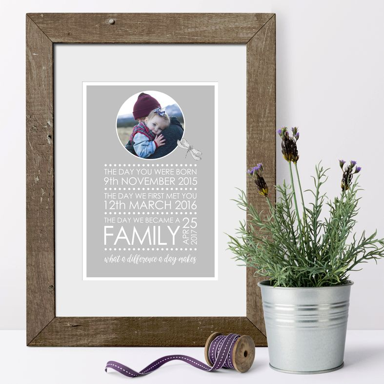 Gorgeous personalised adoption gift: What A Difference A Day Makes, stunning bespoke print, created just for you to celebrate your new family. Free P&P.