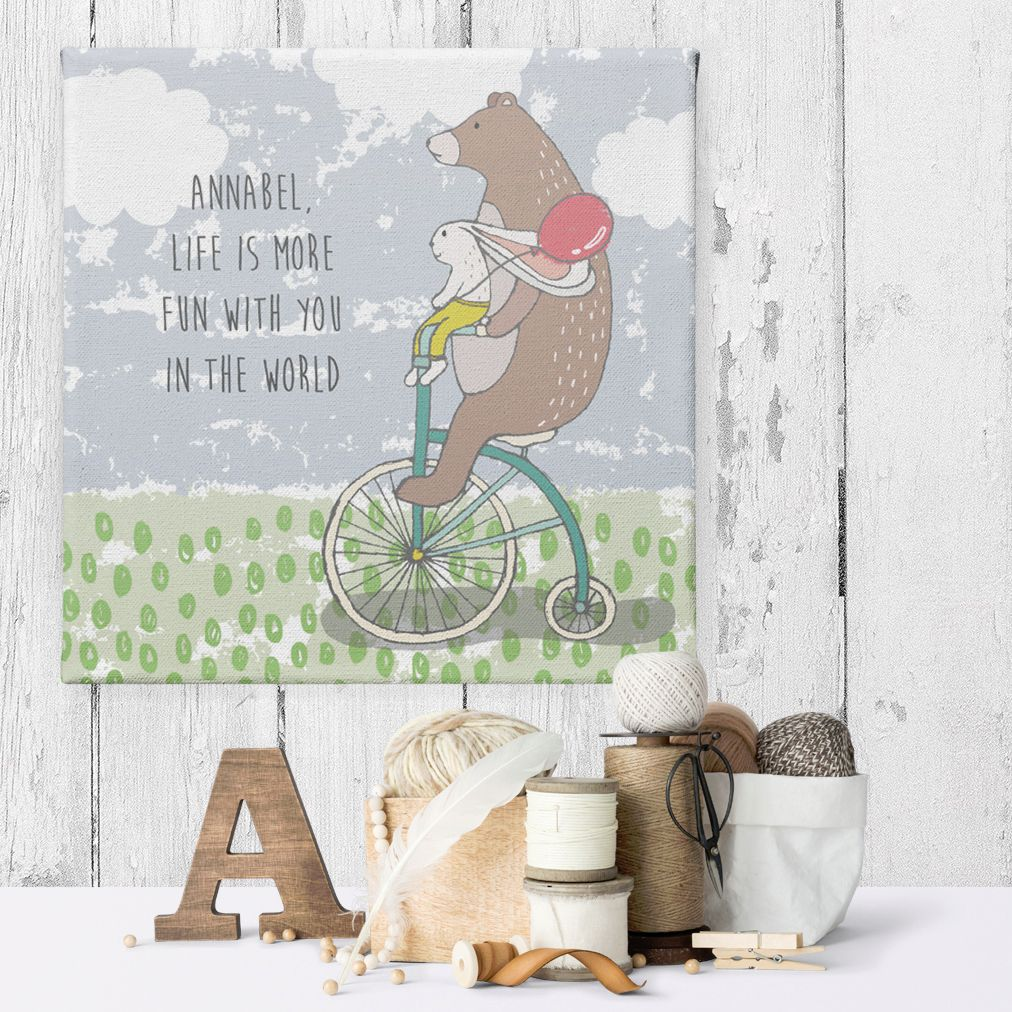 Life is More Fun with you in the World personalised name bear canvas
