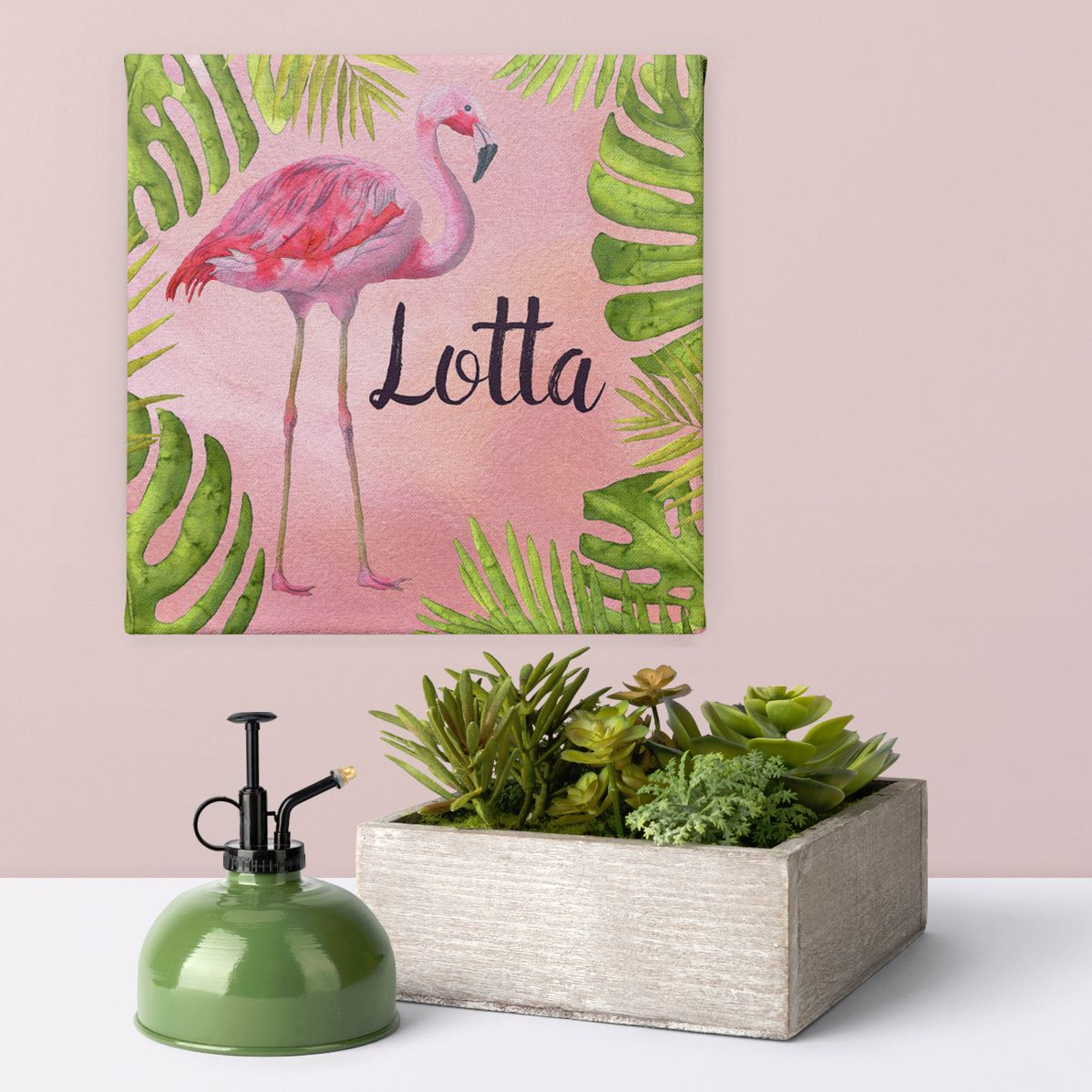 Flamingo tropical personalised word art canvas print