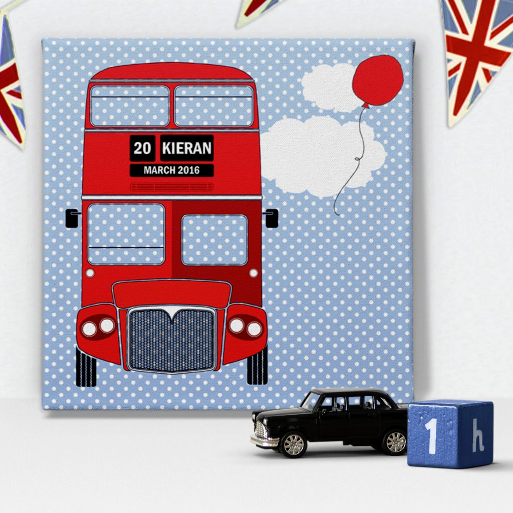 London Bus personalised canvas print for boy
