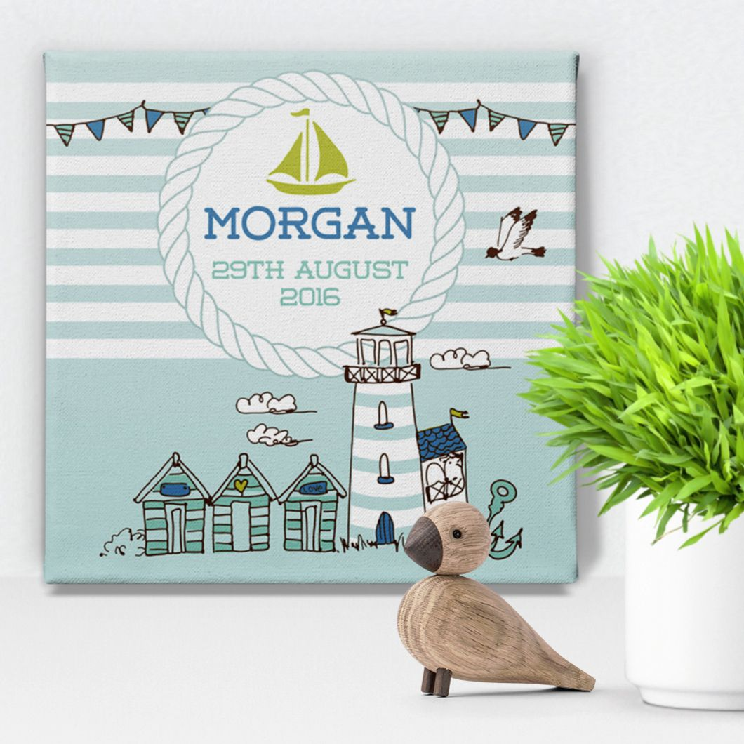 Nautical personalised canvas print