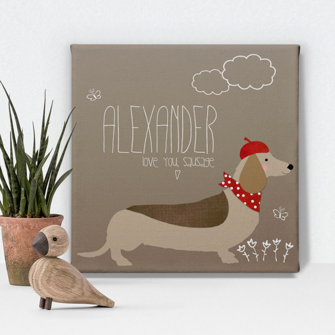 Sausage Dog dachshund personalised canvas print