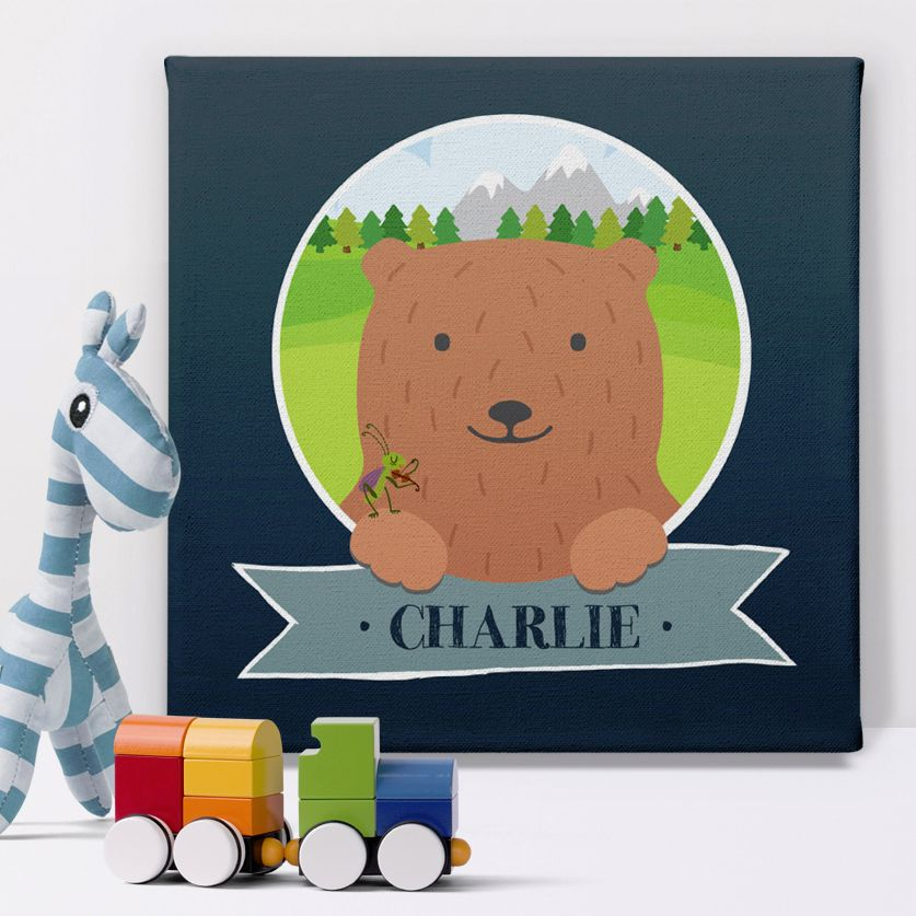 Mountain Bear personalised name canvas print