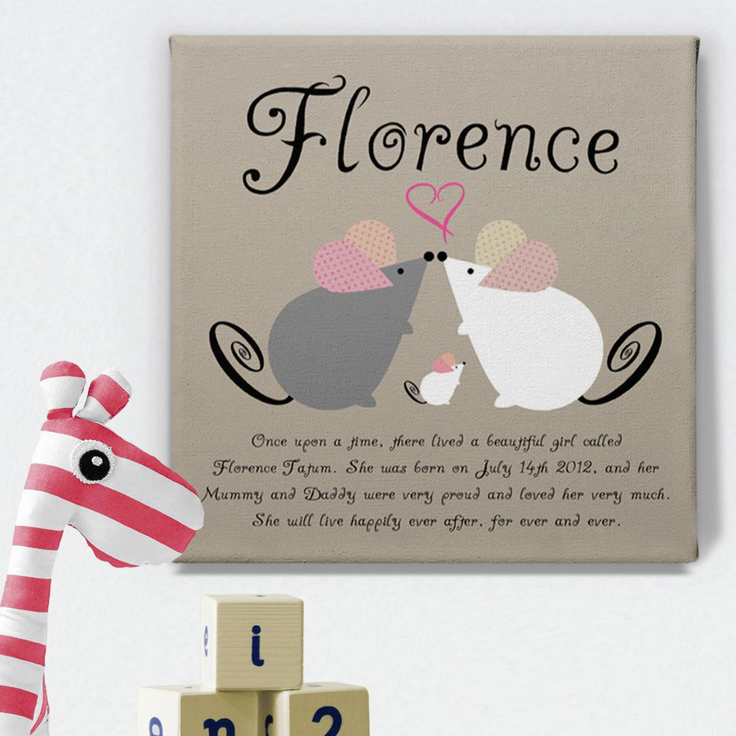 Mouse Family personalised name canvas print