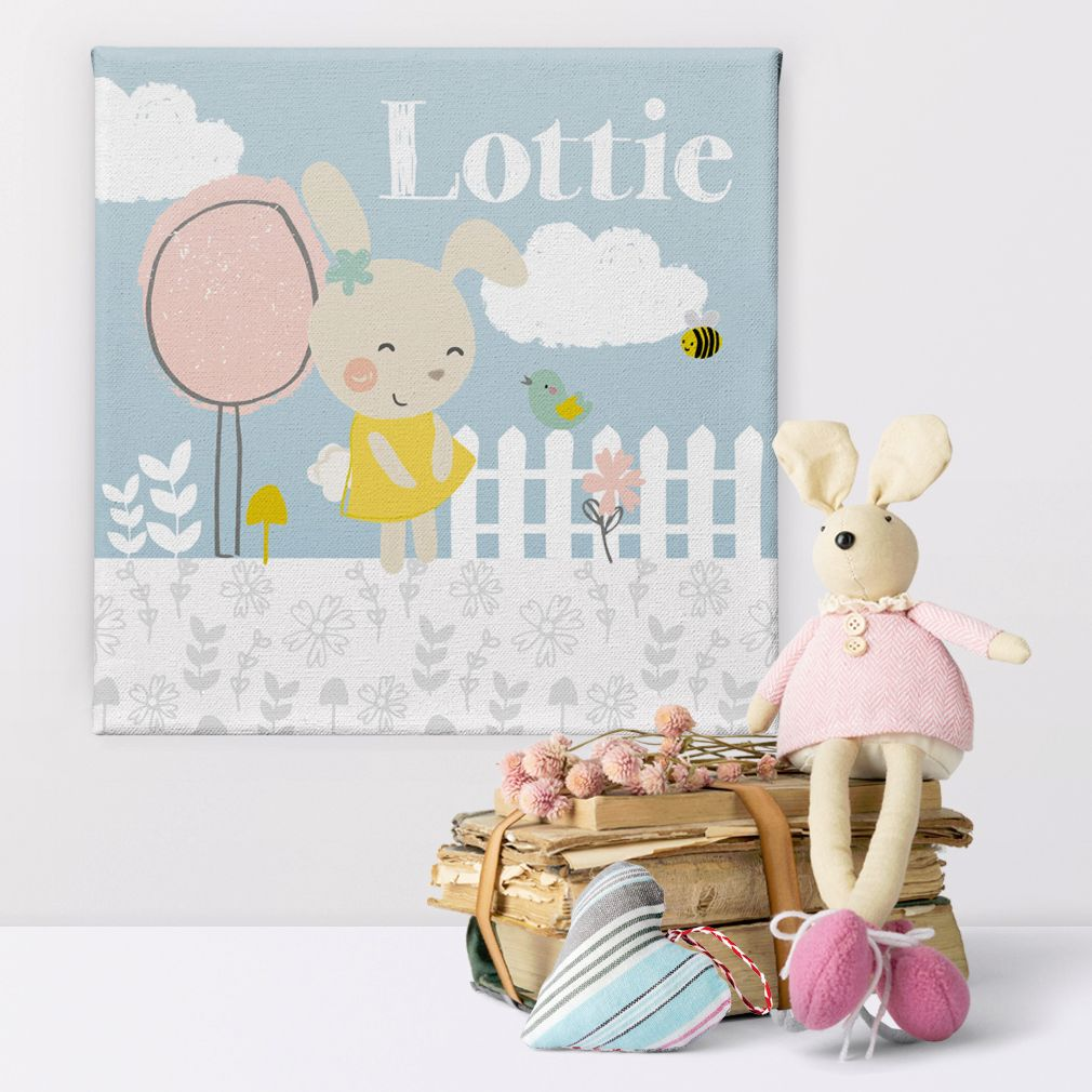 Summer Garden personalised new baby christening canvas gift