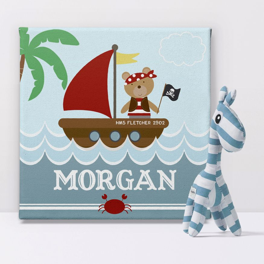 Pirate Bear nautical personalised seaside canvas print