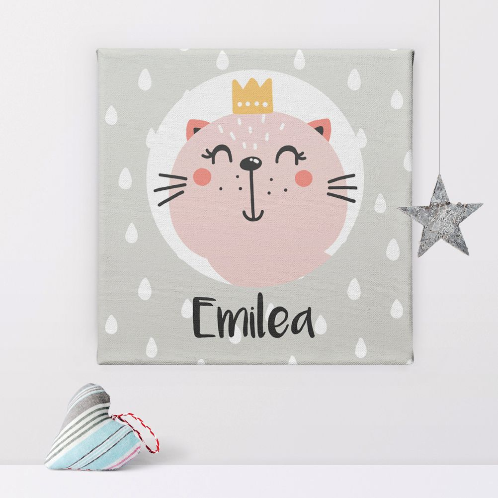 Kitten Princess cat personalised name canvas print
