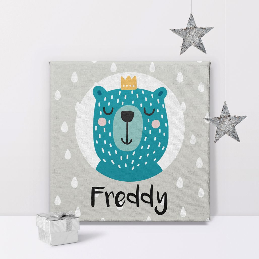 Bear Prince personalised name canvas