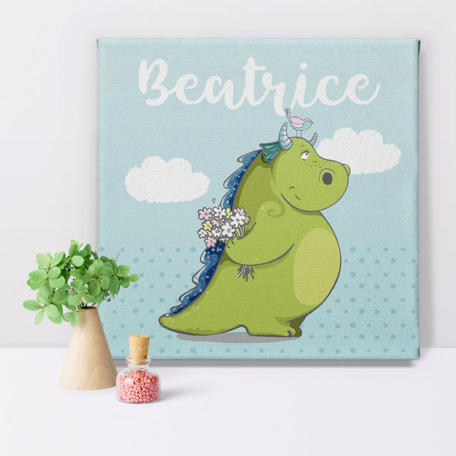 Dragon fairytale personalised canvas print gift for her