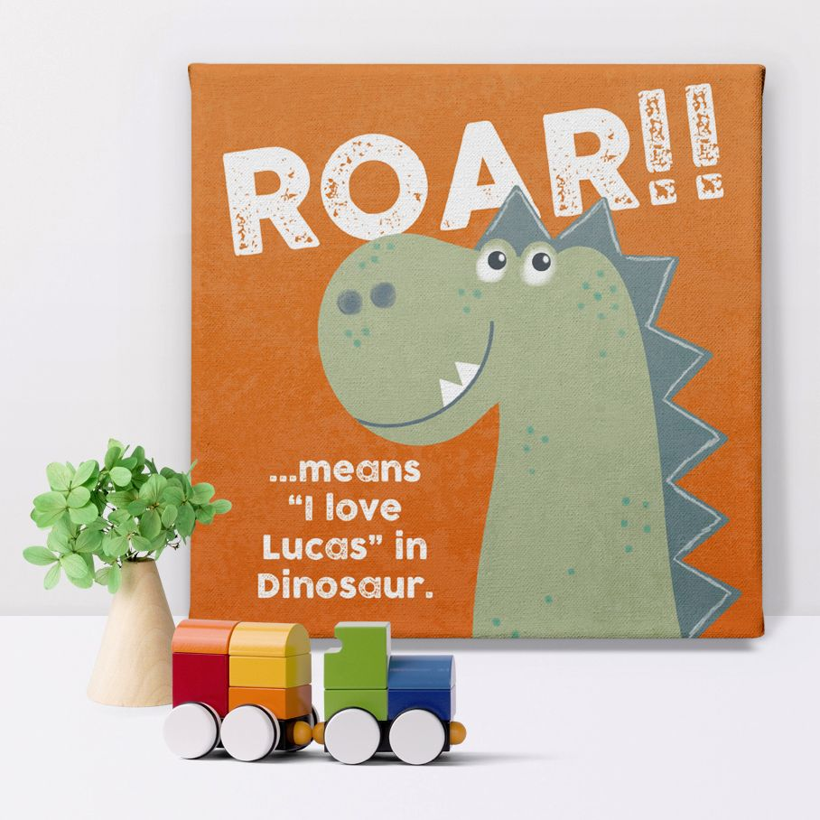 Dinosaur Love personalised name canvas print