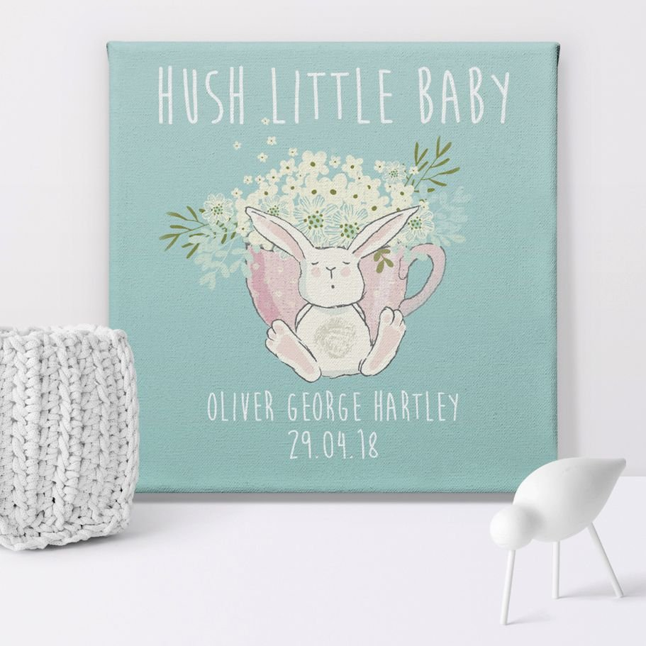 Hush Little Baby personalised baby canvas print