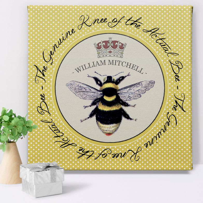 Bees Knees personalised canvas print for her