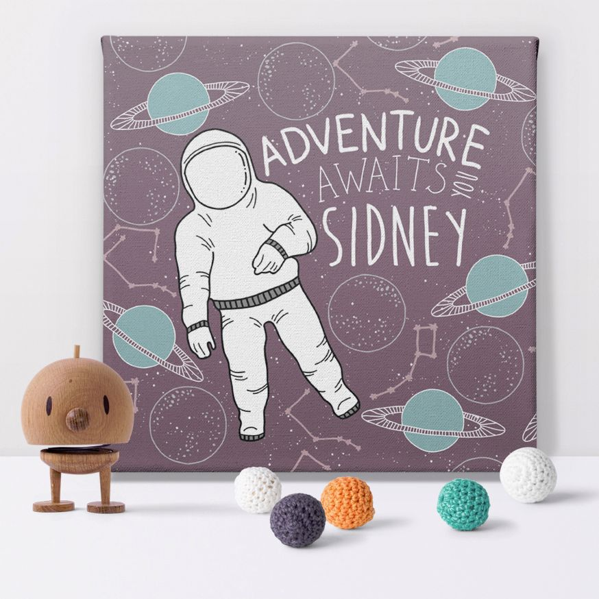 Space Adventure astronaut personalised canvas print picture