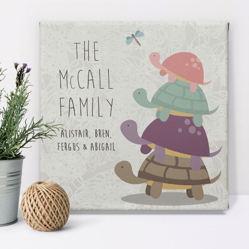 Turtle Family canvas print personalised