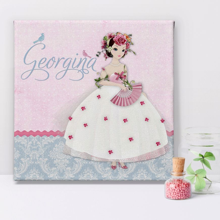 Damask Belle personalised canvas print girl