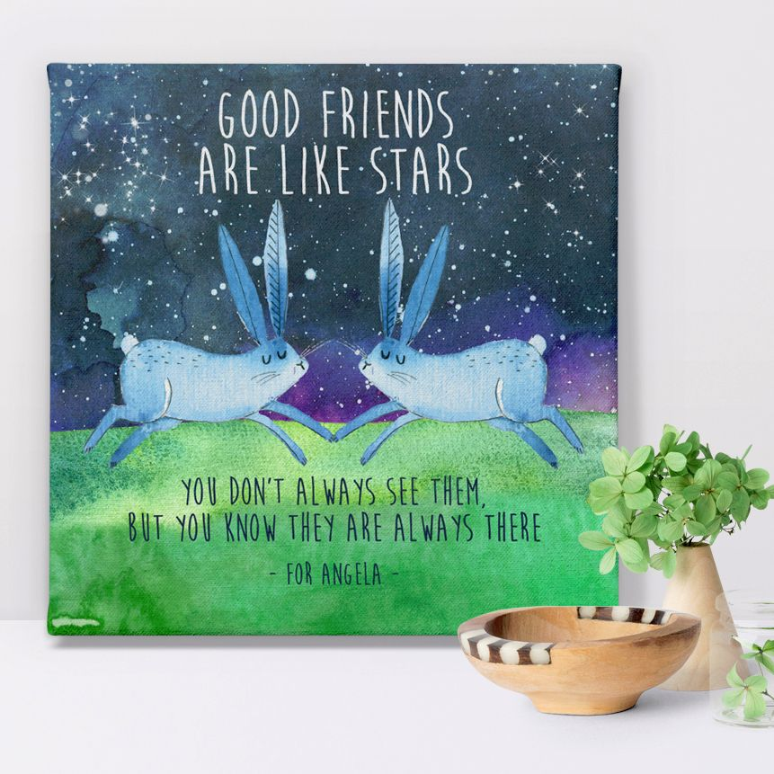 Good Friends personalised canvas print for her