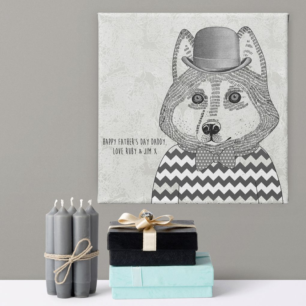 Hipster Husky personalised canvas gift