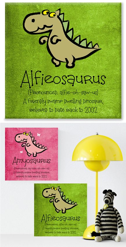 Dinosaur personalised canvas print