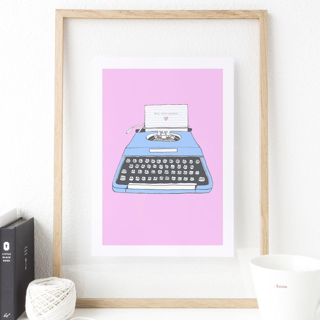 Hello Gorgeous Vintage Typewriter art print | made to order wall art from PhotoFairytales