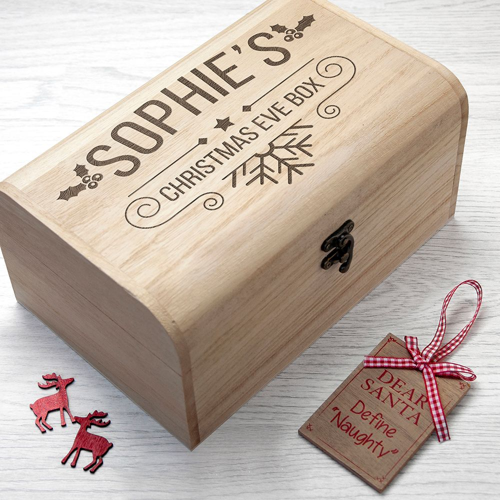 Personalised wooden Christmas Eve box | Holly Chest Box design | choice of designs available at PhotoFairytales
