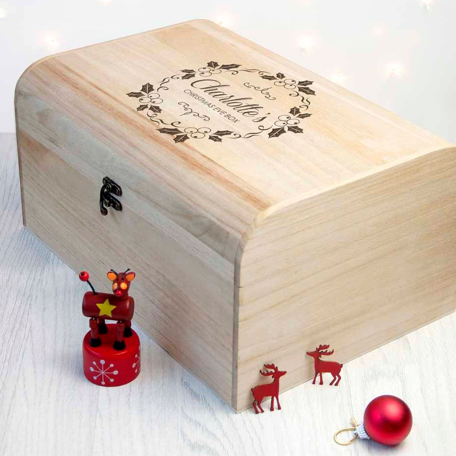 Personalised wooden Christmas Eve box | Mistletoe Chest Box design | choice of designs available at PhotoFairytales
