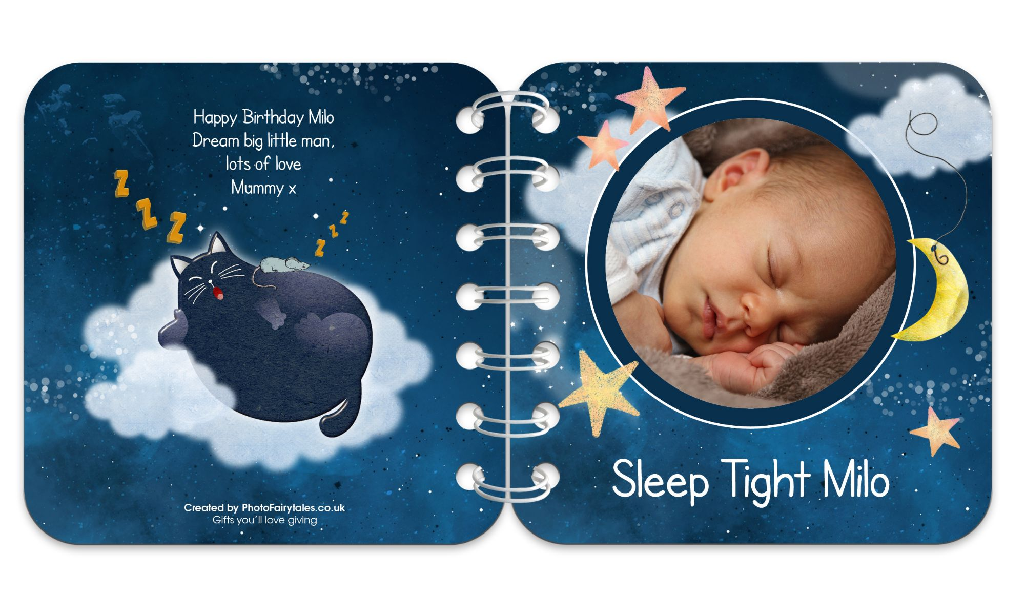 Sweet Dreams Personalised Baby Board Book | handmade board books, made to order, range of designs available, by PhotoFairytales.