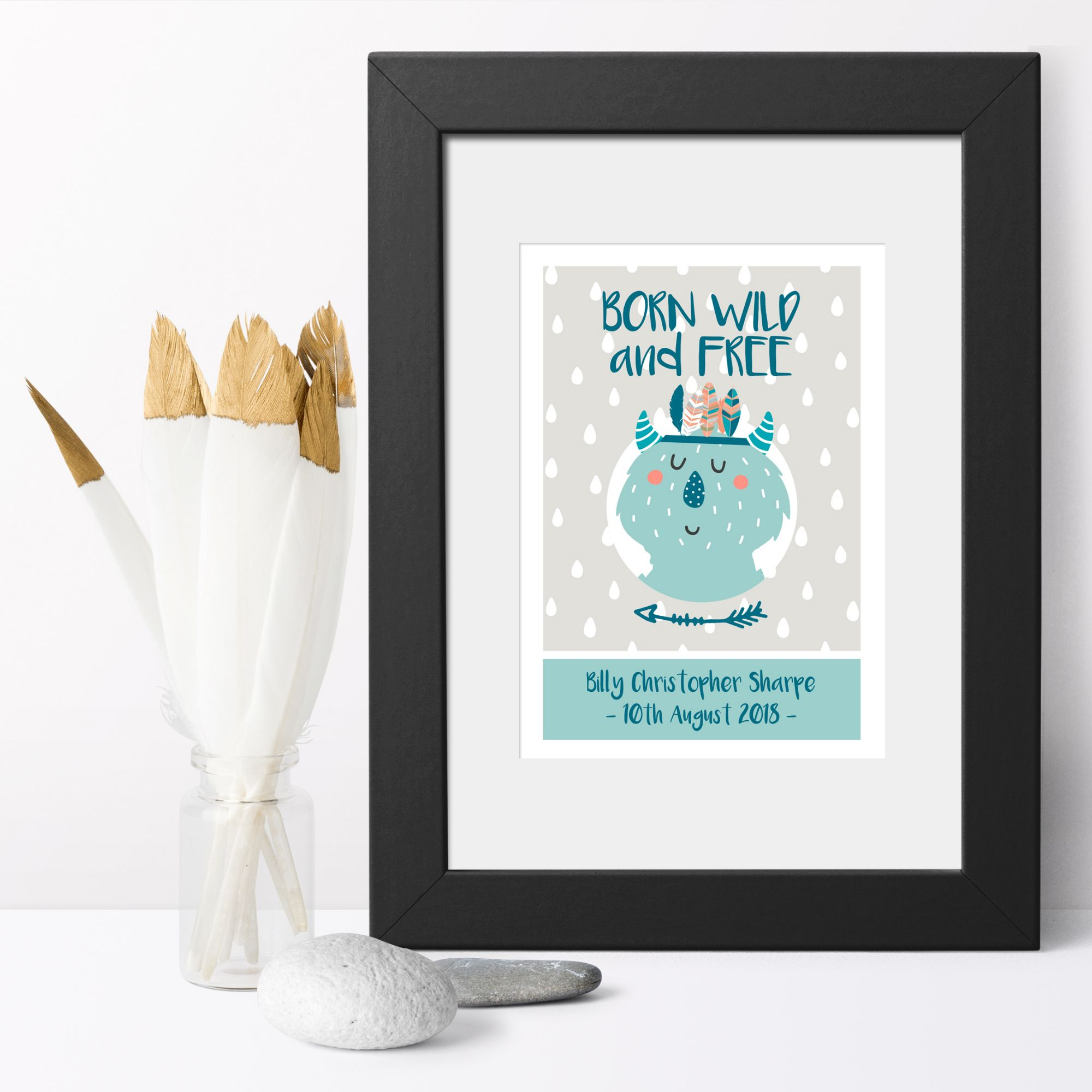 Personalised childrens poster print Christmas baby child newborn gift