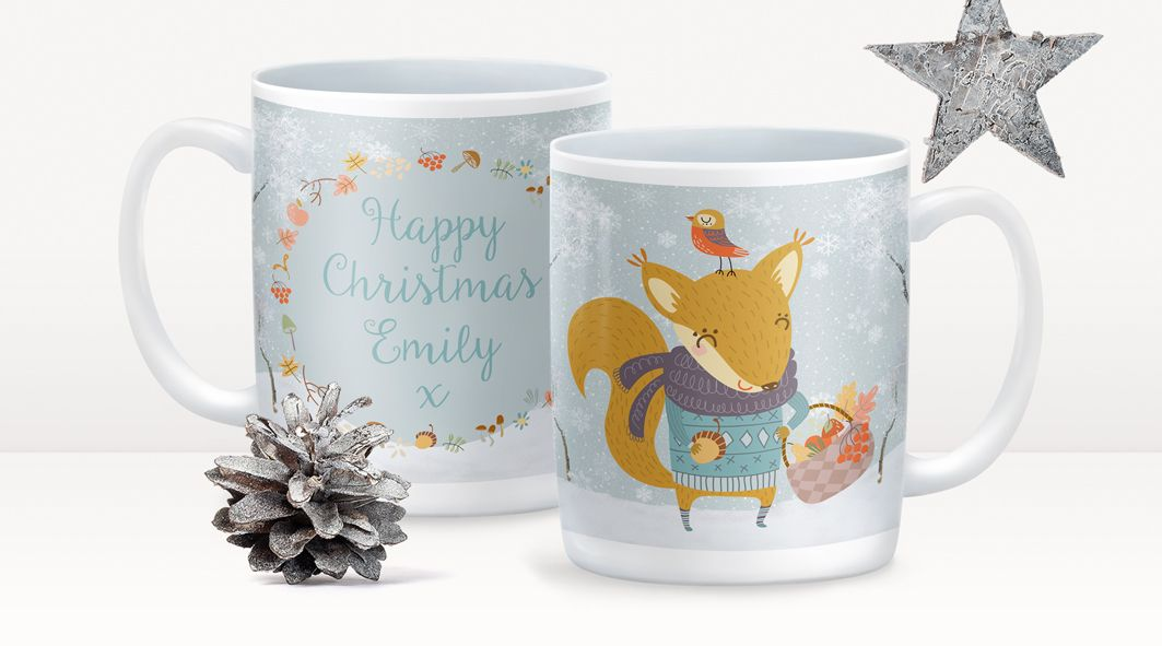 Winter Squirrel personalised Christmas mug