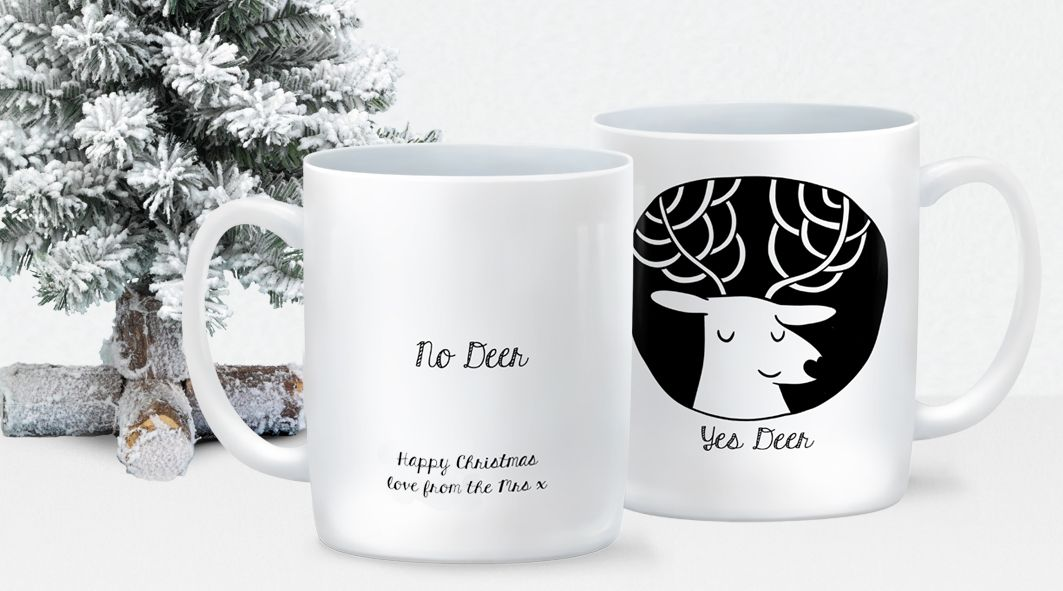 Yes Deer No Deer personalised mug anniversary Valentine's day gift