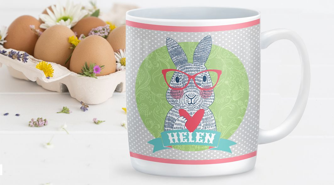 Spectacled Rabbit personalised mug gift for her | hare | bunny | Easter