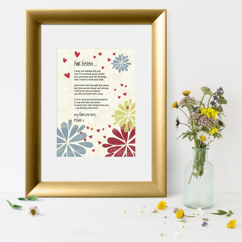 Flower Stamp personalised love poem print | Valentine gift | PhotoFairytales